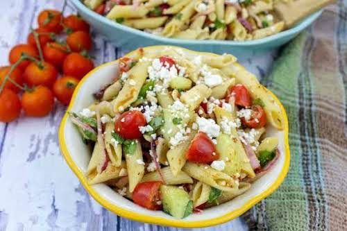 "Greek Pasta Salad ""There's nothing ordinary about this pasta salad recipe. It's..."