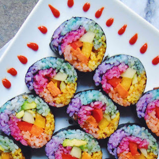 Rainbow Unicorn Sweet Potato Sushi [Vegan, Gluten-Free].