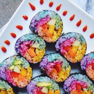 Rainbow Unicorn Sweet Potato Sushi [Vegan, Gluten-Free].