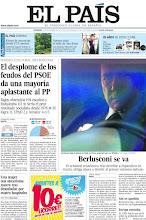 """Photo: En nuestra portada del domingo 13 de novimebre, """"El desplome de los feudos del PSOE da una mayoría aplastante al PP"""" y """"Berlusconi se va"""". http://www.elpais.com/static/misc/portada20111113.pdf"""