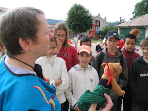 """Photo: In May 2004, members of the Beaufort, NC delegation to the annual gathering of the Beauforts in Beaufort sur Gervanne, France visited the primary school students and their teacher who were """"e-pals"""" of Beaufort Elementary School students of Mrs. Judy Brake."""