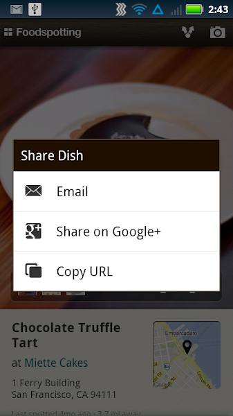 Photo: Foodspotting includes the option to share to Google+.