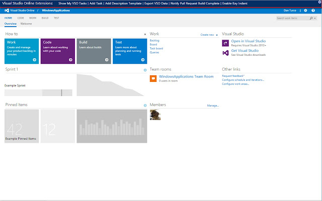 Visual Studio Online Extension