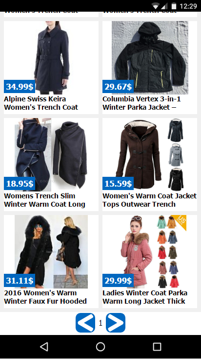 clothes shopping online- screenshot