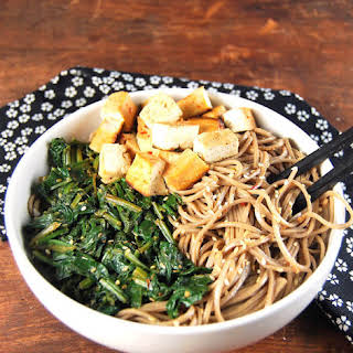 Sesame Soba Noodle Bowl with Sauteed Spinach and Tofu.