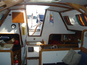 Photo: This is a view of the companion way & Galley.
