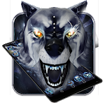 3D White ice wolf theme Icon