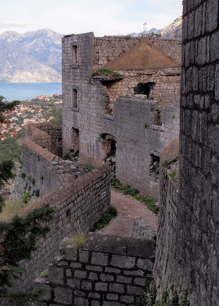 Closer up of the fort and the old town walls of Kotor
