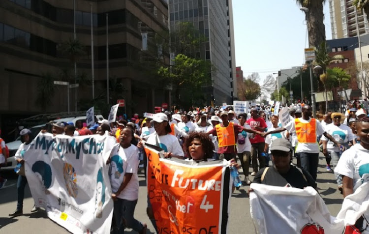 Hundreds of people from various civil society organisations marched through the streets of Braamfontein on Friday to increase awareness about unsafe abortion and reproductive rights.