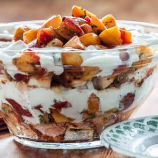 Gluten Free Grilled Stone Fruit Trifle.