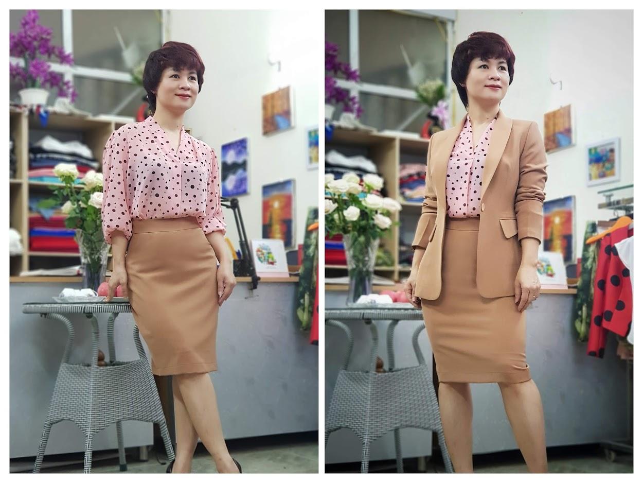 Bộ áo vest nữ áo sơ mi và chân váy công sở V697 thời trang thủy hải phòng