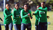 Banyana Banyana players go through their paces during a training session at the Nelson Mandela Metropolitan University on September 10 2018.