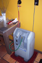 Photo: Just to the right of the table, sits my oxygen concentrators. They're easily within reach, and fit perfectly next to the table. As I mentioned before, I placed the oxycons on a mat to help keep the vibrations to a minimum.