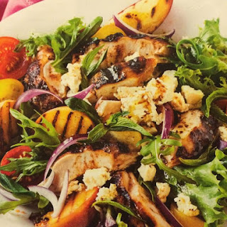 Portuguese Chicken with Peach & Feta Salad