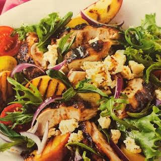 Portuguese Chicken with Peach & Feta Salad.