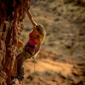 Pulling up rope by Ryan Skeers - Sports & Fitness Climbing ( climbing, rock climbing, girls, girls climbing, amber )