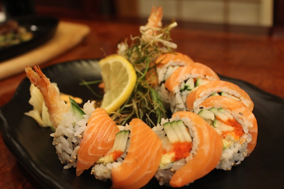 Red Dragon Roll that has shrimp and salmon at Ichiban Fish House