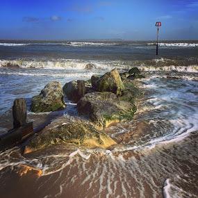 The beach  by Mark Usher - Instagram & Mobile Instagram ( beach rocks waves sand )