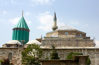 Photo: Mevlana Museumis the mausoleum of Rumi. It was also the dervish lodge of the Mevlevi order, better known as the whirling dervishes.  Sultan 'Ala' al-Din Kayqubad, the Seljuk sultan who had invited Mevlâna to Konya, offered his rose garden as a fitting place to bury Baha' ud-Din Walad (also written as Bahaeddin Veled), the father of Mevlâna, when he died on 12 January 1231. When Mevlâna died in 17 December 1273 he was buried next to his father.  (From Wikipedia)
