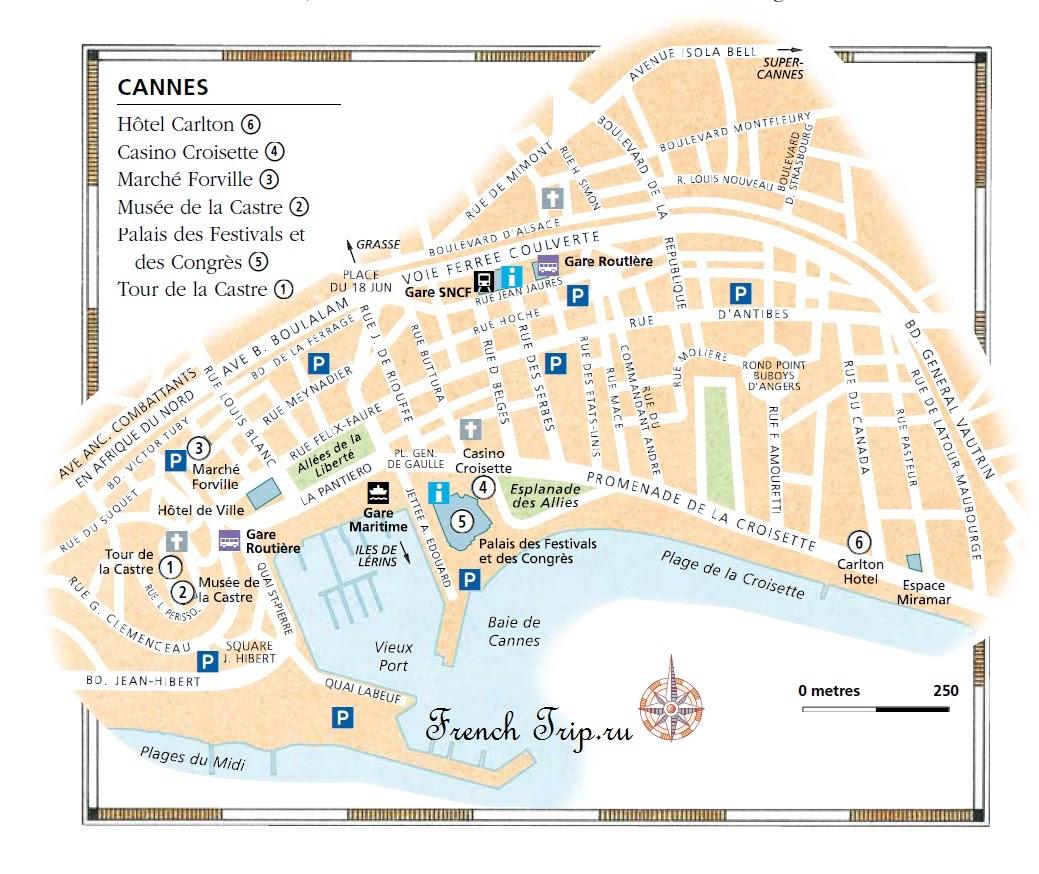 Карта города Канны с достопримечательностями Cannes (Канны), Лазурный берег Франции