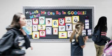 A board on a wall, it reads a large title that says, Look what we can do in Google.