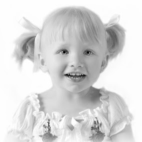 My Gorgeous Neice  by Lisa Kirkwood - Black & White Portraits & People ( bkack and white potrait girl child smile happy )