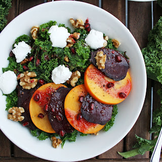 Beetroot Salad with Persimmon, Kale and Goat Cheese