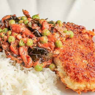 Coconut Crusted Mahi Mahi with Masala Peas.