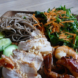 Asian-Style Chicken and Shrimp with Herb Salad and Noodles.