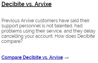 Decibite vs Arvixe