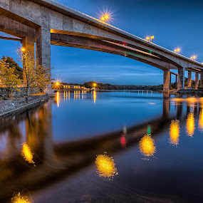 Sarpsborg, Norway. by Bent Velling - Buildings & Architecture Bridges & Suspended Structures ( water, lights, ef17-40l, canon 6d, benro, trees, reflections, bridge, norway, sarpsborg )