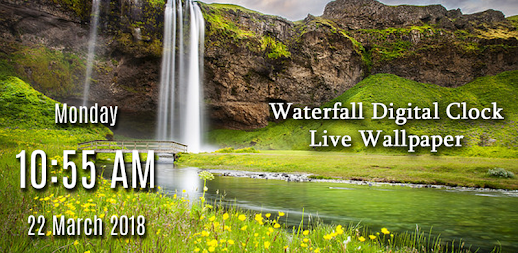 Waterfall digital clock live wallpaper APK