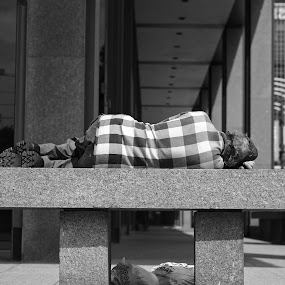 Safer to sleep during the day by Marcus Harper - Black & White Street & Candid ( black and white, street, composition, lines, shapes, street photography,  )