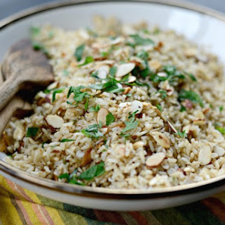 Garlicky Toasted Almond Basmati Rice