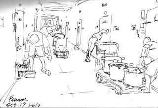 Photo: 打飯菜2010.10.17鋼筆 在監所工作最常被問的一句是:他們會不會像電影監獄風雲那樣在食堂打群架啊?基本上台灣的監獄沒有大食堂,不是在工場就是在舍房開飯,其實想要打群架不必挑大食堂,任何地方都有可能… 在舍房開飯前,由雜役推著板車,將飯、菜、水,分配到各個房門前裝盛,再由遞物口送入…