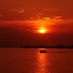 ::: Sunset Above the Boat ::: by Muhammad Irwansyah - Landscapes Waterscapes ( sunset silhouette nature landscape boat )