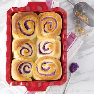 Ube Bread Rolls with Toasted Coconut.