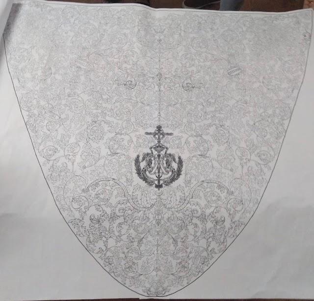 Diseño del bordado del manto de María Santísima de Los Ángeles.