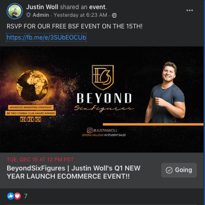 beyondsixfigures live event for free on facebook group by justin woll