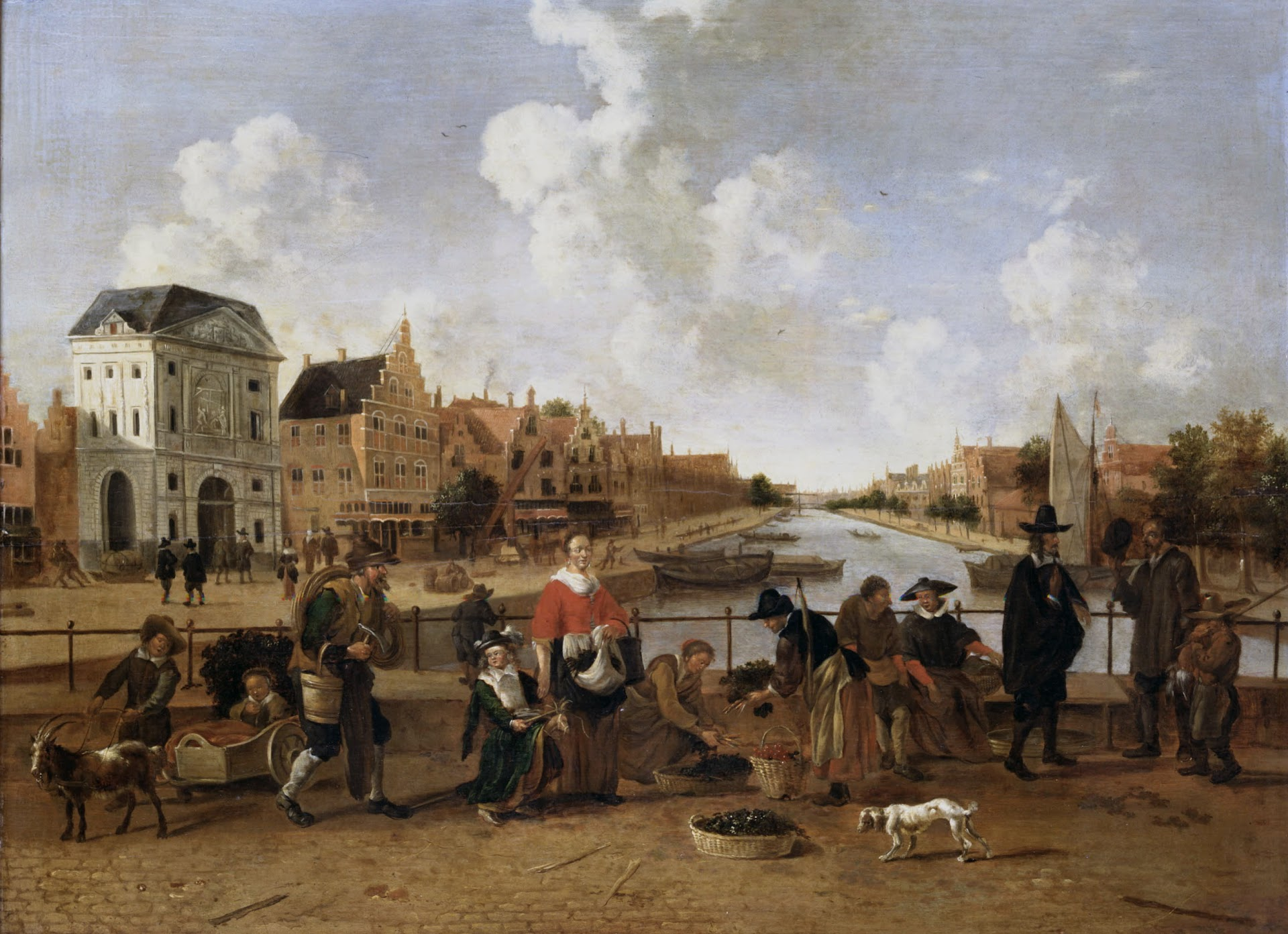 De Groenmarkt met gezicht op de Stille Rijn in Leiden, 1660