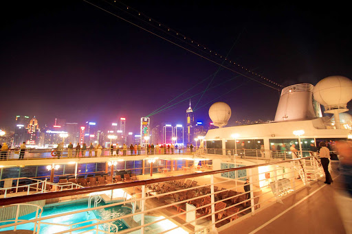 The Symphony of Lights as viewed from Azamara Quest in Victoria Harbor, Hong Kong.