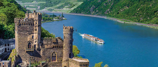 Viking Herja sails past Rheinstein Castle in Burg, Germany, along the Rhine.