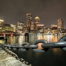 Boston at night by Cary Chu - City,  Street & Park  Night