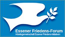Logo Essener Friedens-Forum: Taube mit Zweig im Schnabel, weiß auf blau.