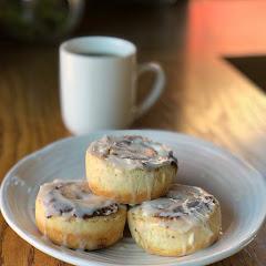 cinnamon rolls and Dublin Roasters coffee