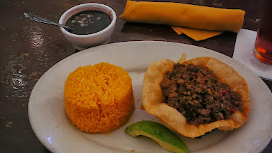 Photo: Cuban spiced ground beef, yellow rice, and black beans