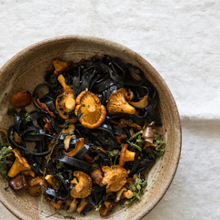Squid Ink Pasta with Mushrooms.