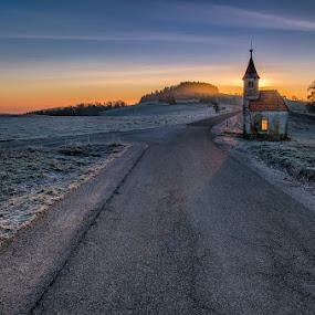 Fire in the chapel by Peter Zajfrid - Landscapes Sunsets & Sunrises ( window, chapel, sunrise, morning )