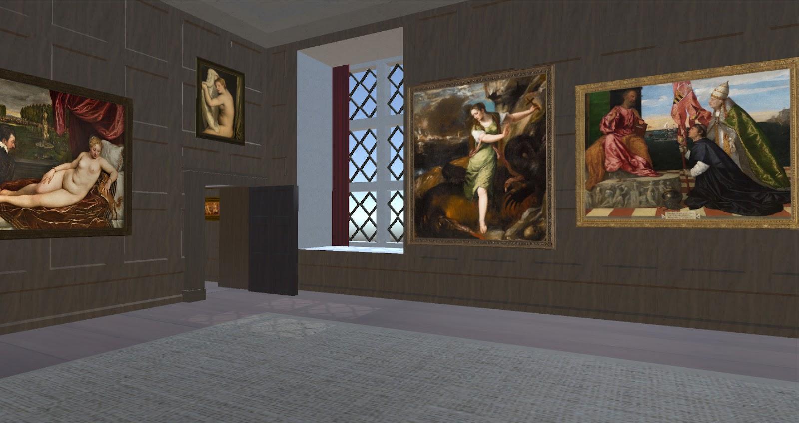 A 3D model depicting a Tudor / Stuart era interior filled with Renaissance paintings