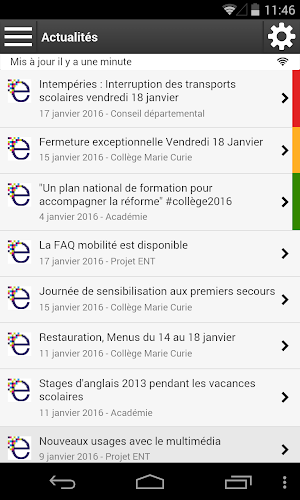 eLYCEE Rhône-Alpes Android App Screenshot